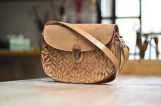 Kabelky - kabelka kožená PANACEA No.3, vzor Bylinky,  S - 5952240_