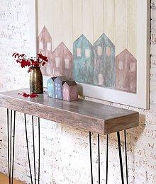 Nábytok - Konzolový stôl SCANDI OLD BROWN NO.2 - 5948399_