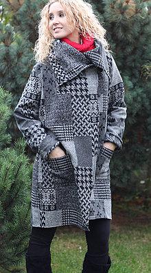 Kabáty - Černo šedý kardigan - 5964973_