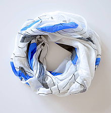 Šatky - megašatka biela s modrými kruhmi II - 5967984_