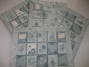 Úžitkový textil - modrosivé vianočné so strieborným nádychom - 5993660_