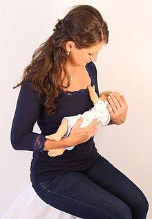 Tehotenské oblečenie - Dojčiace tričko 3v1 - 3/4 rukáv - s čipkou - 6011013_