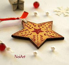 Dekorácie - Vianočná ozdoba Hviezda zlatá - 6021716_