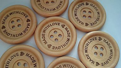 Galantéria - MADE WITH LOVE - gravírovaný gombík 3,5cm - 6036718_
