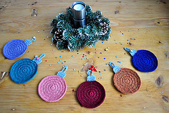 Úžitkový textil - Vianočné gule - podšálky - 6047872_