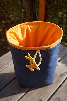 Úžitkový textil - košík modrý s oranžovým futrom - 6049955_