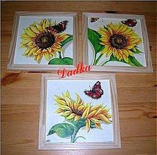 Obrázky - slnečnicová sada v drevenom ráme - 6076911_
