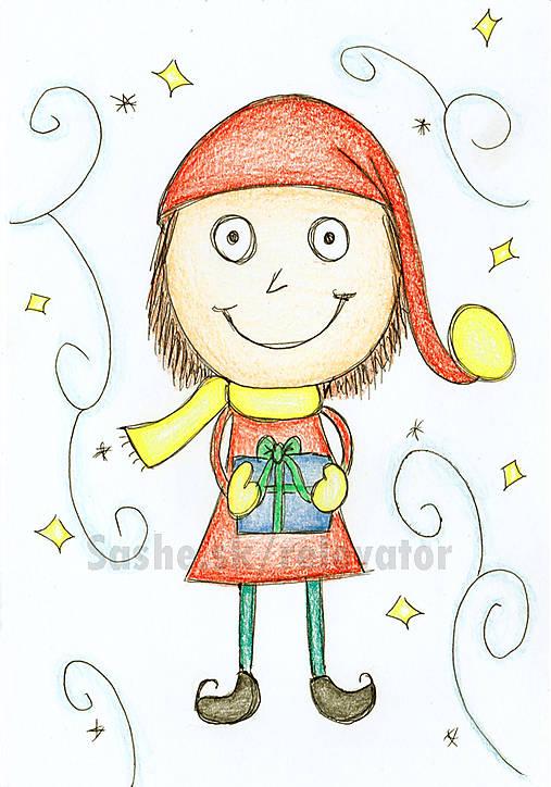 vianočný pajác, vianočný škriatok, vianočné obrázky, kreslené vianočné pohľadnice, vianočné pohľadnice kreslené, detské pohľadnice, detské vianočné pohľadnice, vianočné kresby, vianočné ozdoby, vianočný obrázok, šťastné a veselé
