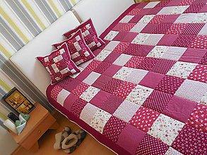 Úžitkový textil - patchwork deka  bordovo červená 220 x 240 - 6101209_