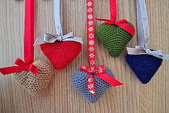 Dekorácie - Vianočné srdiečka - 6105271_