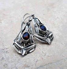 Náušnice - Black opals leaves earrings - 6118292_
