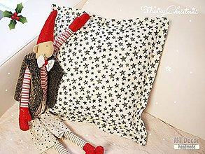 Úžitkový textil - VIANOČNÉ OBLIEČKY - zelené hviezdy - 6128556_