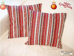 Úžitkový textil - VIANOČNÉ OBLIEČKY - farebné vianočné pruhy - 6128589_