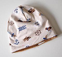 Detské súpravy - detská čiapka oteplená námornícka - 6147169_