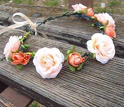 Ozdoby do vlasov - Broskyňové ružičky - venček - 6156943_