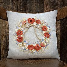 Úžitkový textil - Veniec malý - vlčie maky s lúčnymi kvetinami 35x35cm ručne maľovaný - 6180916_