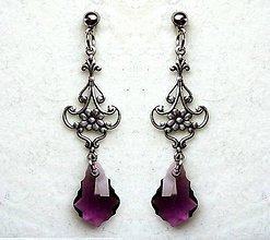 Náušnice - purple antic drops - 6191624_