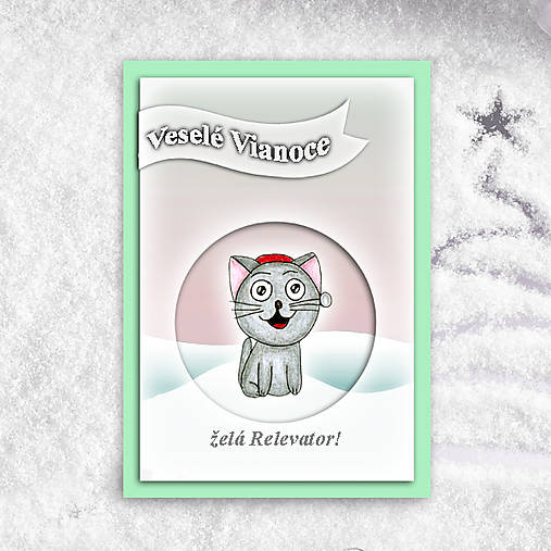 Mačička v snehu - vianočná pohľadncia 1