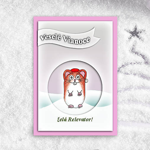 Škrečok v snehu - vianočná pohľadnica 1