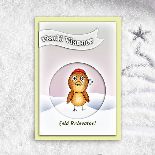 Vtáčik v snehu - vianočná pohľadnica 1