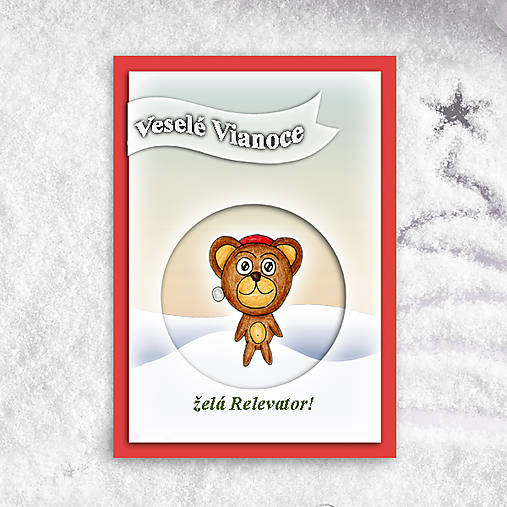 Macko v snehu - vianočná pohľadnica 1