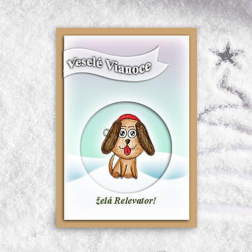 Psík v snehu - vianočná pohľadnica 1