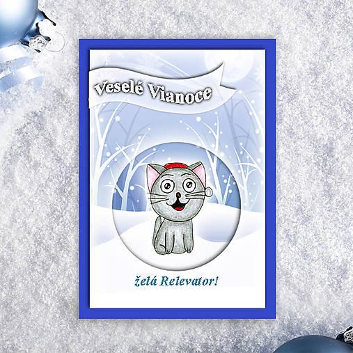 Mačka v snehu - vianočná pohľadnica 3