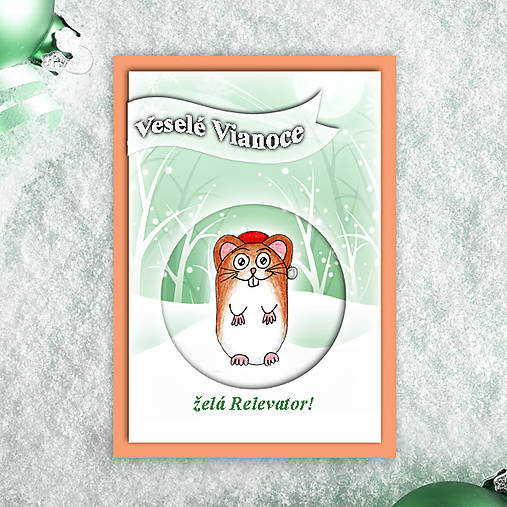 Škrečok v snehu - vianočná pohľadnica 3