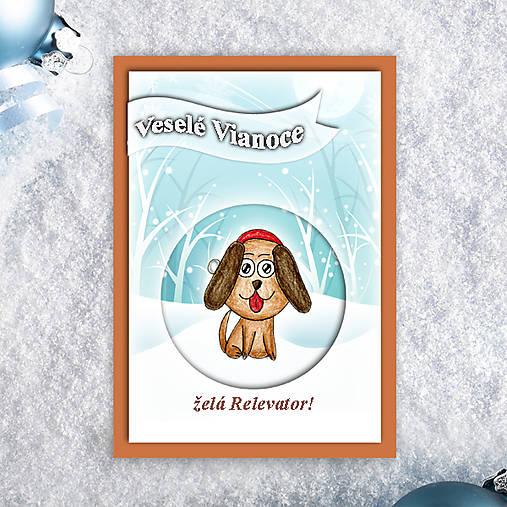Psík v snehu - vianočná pohľadnica 3