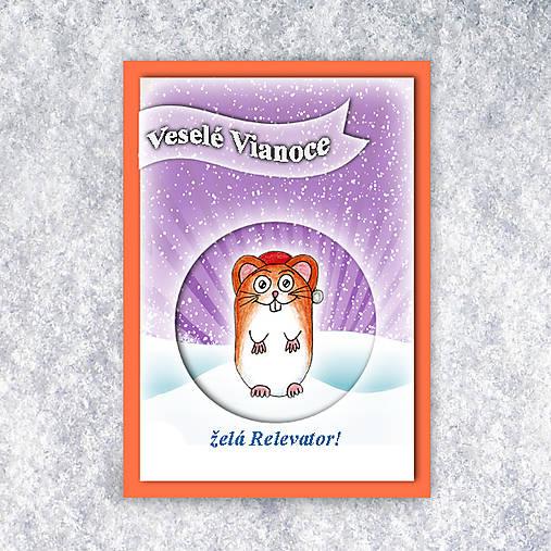 Škrečok v snehu - vianočná pohľadnica 4