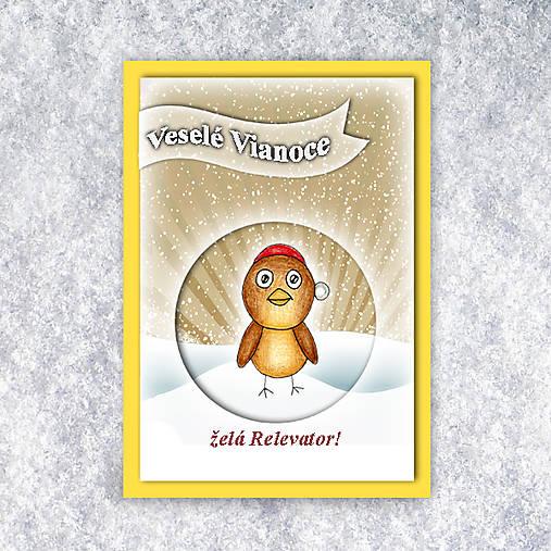 Vtáčik v snehu - vianočná pohľadnica 4