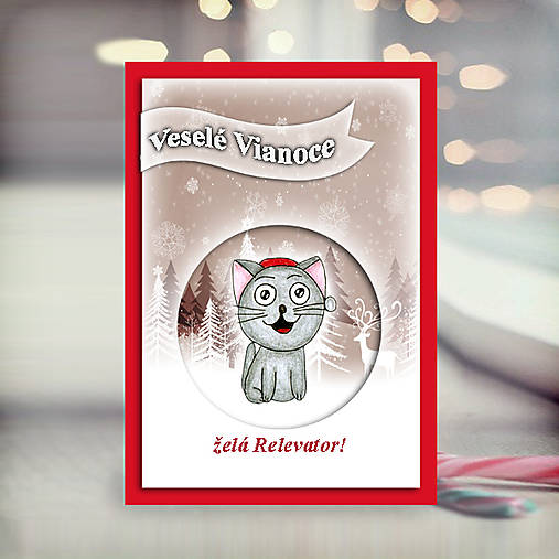Mačička v snehu - vianočná pohľadnica 5