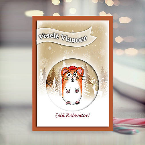Škrečok v snehu - vianočná pohľadnica 5