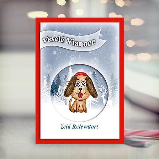 Psík v snehu - vianočná pohľadnica 5