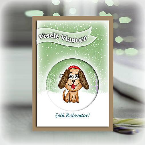 Psík v snehu - vianočná pohľadnica 6
