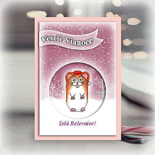 Škrečok v snehu - vianočná pohľadnica 6