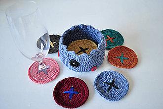 Úžitkový textil - Gombíkové podšálky s košíčkom - 6261563_