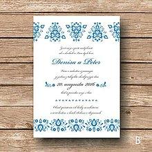 Papiernictvo - Svadobné Oznámenie Folk Blue - 6293260_