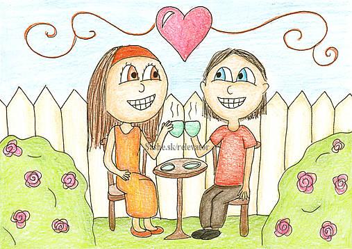Čaj v záhrade - valentínska kresba
