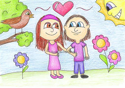 Na prechádzke - valentínska kresba