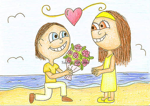 Na pláži - valentínska kresba