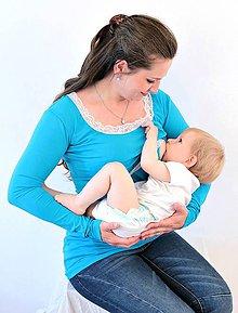 Tehotenské oblečenie - Dojčiace tričko 3v1 dl. rukáv - s čipkou - 6314925_