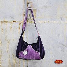 Kabelky - modrá manšestrová kabelka s lila kapsou 9002/2 - 6337796_