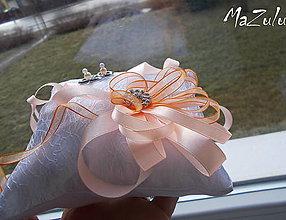 Prstene - svadobný vankúšik v meruňkovo & oranžovom - 6338414_