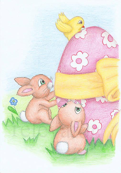Veľkonoční zajačikovia a veľkonočné vajíčko