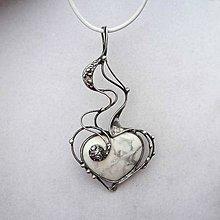 Náhrdelníky - Srdce z ledu - magnezit - 6373452_