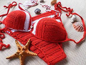 Bielizeň/Plavky - plavky opaľovačky červeno-biele - 6381076_