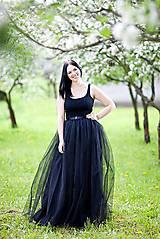 Sukne - čierna tylová sukňa  - 6387171_