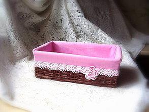 Košíky - košík hnedo ružový - 6384590_