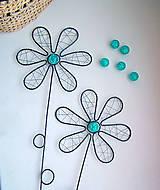 Dekorácie - Návrat: Drôtený zápich kvet s tyrkysovou korálkou - 6424721_